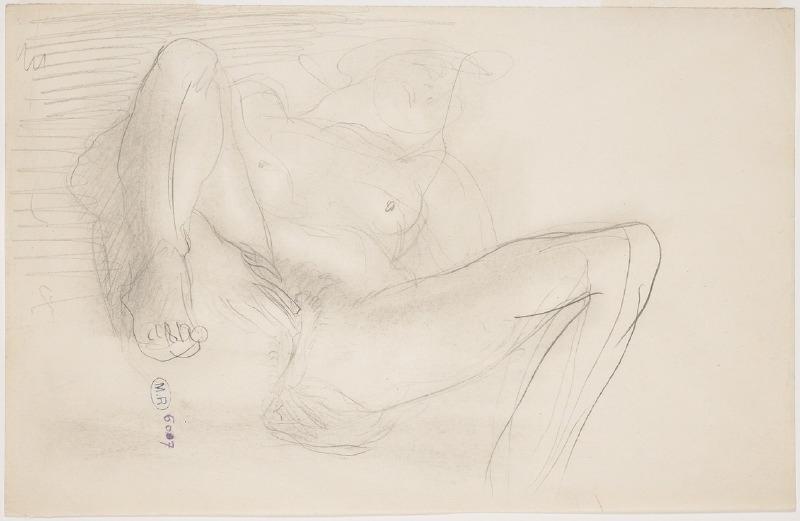 Femme nue sur le dos, de face, les mains au sexe et les jambes soulevées_0