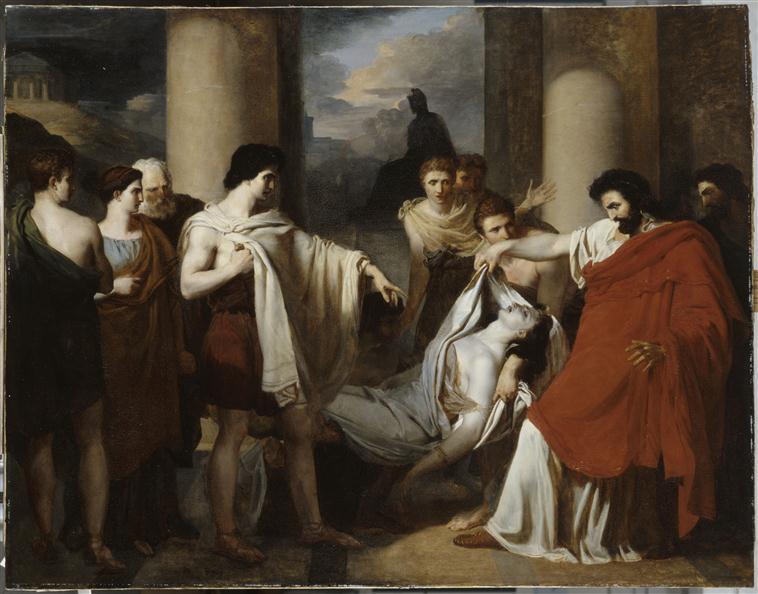 Egisthe croyant découvrir le corps d'Oreste mort, reconnaît celui de Clytemnestre_0