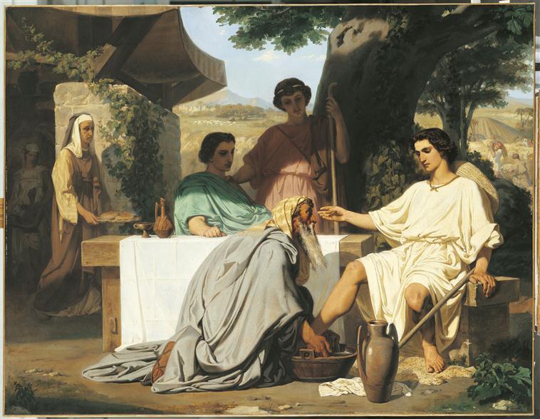 Abraham lavant les pieds aux trois anges_0