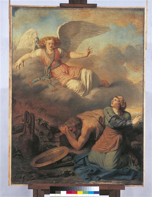 Laban donne sa fille à Jacob ou Abraham rend grâces à Dieu de la délivrance de son fils_0