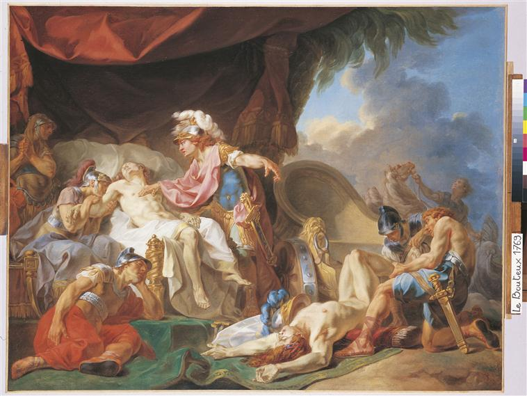 Achille dépose le cadavre d'Hector aux pieds de celui de Patrocle_0