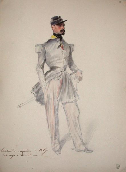 Laslandes, capitaine au 22e Léger, aide major de tranchée ; Siège de Rome de 1849 (en 3 tomes)_0