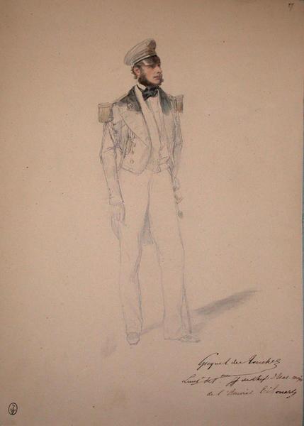 Gicquel des Touches, lieutenant de Vaisseau faisant fonction de chef d'Etat major de l'Amiral Tréhouart ; Siège de Rome de 1849 (en 3 tomes)_0