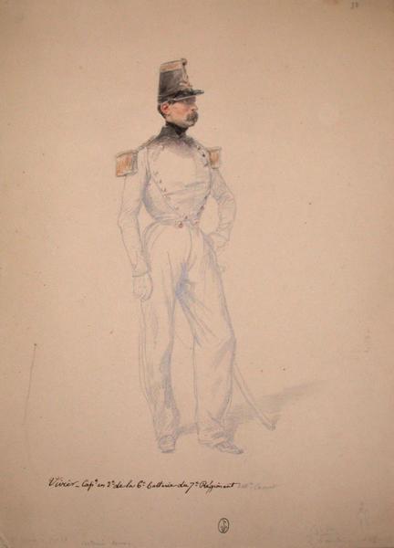 Vivier, capitaine en second de la 6ème batterie du 7ème régiment ; Siège de Rome de 1849 (en 3 tomes)_0