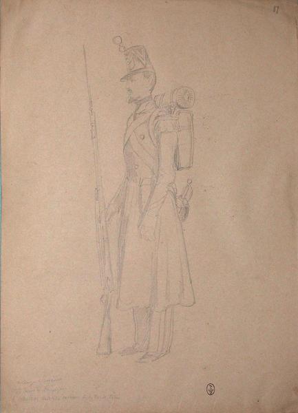 Le sergent Vincent, en tenue de campagne, le schako doit être couvert de toile cirée ; Siège de Rome de 1849 (en 3 tomes)