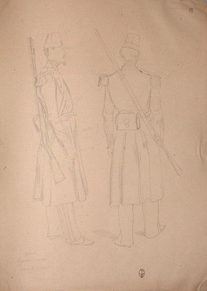 Génie. Sergent Vincent en tenue de travail ; Siège de Rome de 1849 (en 3 tomes)