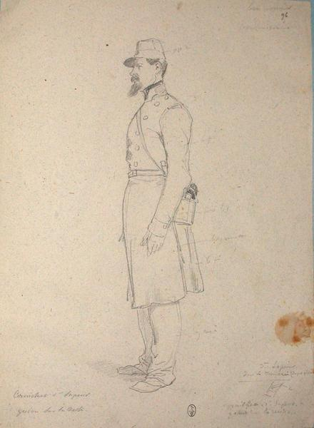 Cornichet, 1er sapeur, galon sur la veste, 3e sapeur dans la tranchée ; Siège de Rome de 1849 (en 3 tomes)