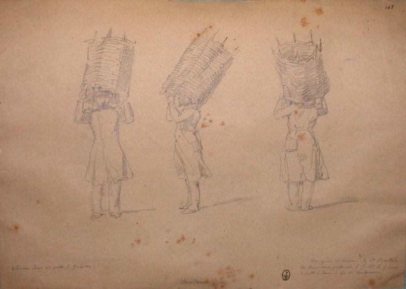 Manière dont on porte le gabion ; Siège de Rome de 1849 (en 3 tomes)_0