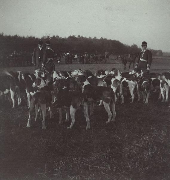 Robert d'Orléans duc de Chartres (1840-1910) écoutant son premier piqueux Etienne Péhaut lui faire son rapport lors d'une chasse à courre en Chantilly, la meute au premier plan