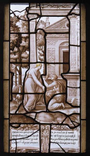 Histoire de Psyché (26) : Psyché arrive devant le temple de Junon richement décoré. Pour la même raison que Cérès, Junon, à contrecoeur, l'éconduit