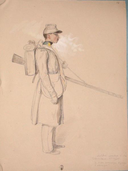 Soldat portant le sac d'ambulance, 13e Léger. Ce soldat accompagne toujours le chirurgien ; Siège de Rome de 1849 (en 3 tomes)_0