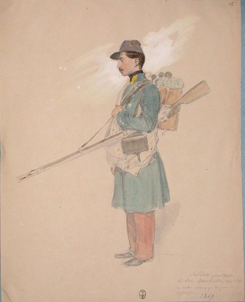 Soldat portant le sac d'ambulance, 13e Léger. Ce soldat accompagne toujours le chirurgien.1849. ; Siège de Rome de 1849 (en 3 tomes)_0
