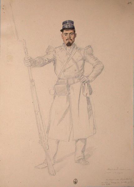 Moinard carabinier, 22e Léger, 1er bataillon. La bayonnette s'est tordue et c'est à coup de crosse qu'il s'est battu ; Siège de Rome de 1849 (en 3 tomes)_0