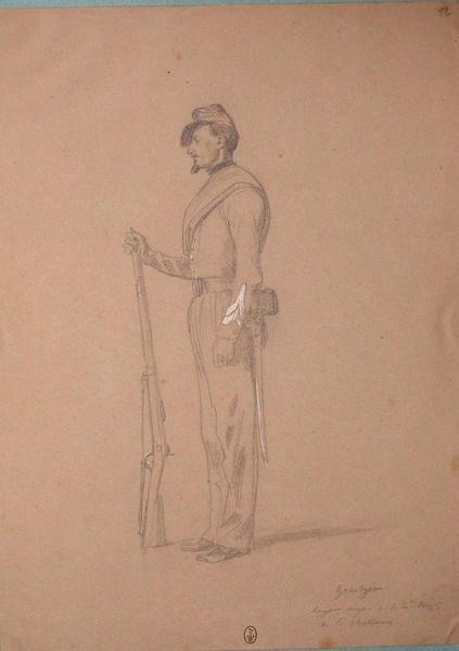 Grandjean, sergent major de la 1ère compagnie du 1er chasseur ; Siège de Rome de 1849 (en 3 tomes)_0