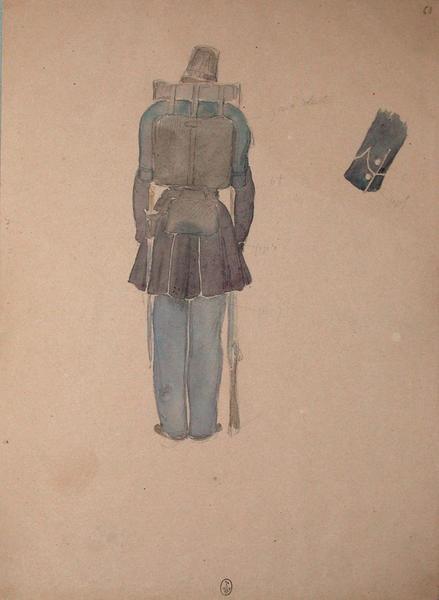Chasseur, 1er Bataillon, vu de dos ; Siège de Rome de 1849 (en 3 tomes)_0