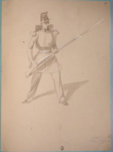 Chasseur croisant la baïonnette ; Siège de Rome de 1849 (en 3 tomes)_0