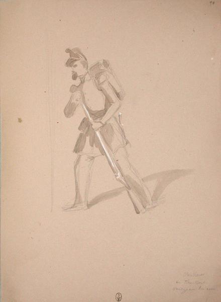Chasseur ou tirailleur chargeant son arme ; Siège de Rome de 1849 (en 3 tomes)