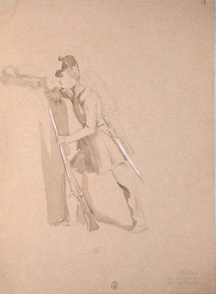 Chasseur en embuscade dans la tranchée ; Siège de Rome de 1849 (en 3 tomes)_0