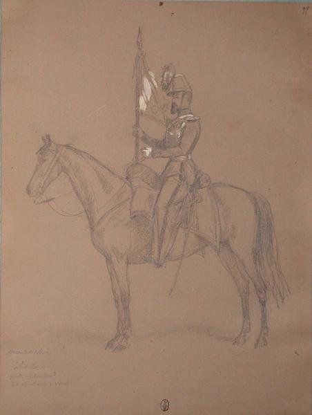 Mommesin, sous-lieutenant, porte étendart des chasseurs à cheval ; Siège de Rome de 1849 (en 3 tomes)