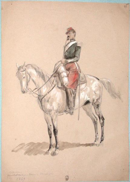 1er chasseur, maréchal des logis, tenue de campagne, 1849 ; Siège de Rome de 1849 (en 3 tomes)