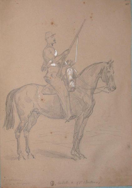 1er chasseur tenue de campagne, vedettte du 1er chasseur ; Siège de Rome de 1849 (en 3 tomes)_0