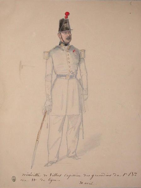 Niceville de Villers, capitaine des grenadiers du 1er bataillon du 33e de ligne, 30 avril. ; Siège de Rome de 1849 (en 3 tomes)_0