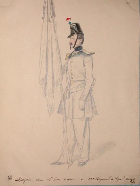 Patissier sous-lieutenant porte-drapeau au 33e régiment de ligne, 3e bataillon ; Siège de Rome de 1849 (en 3 tomes)_0