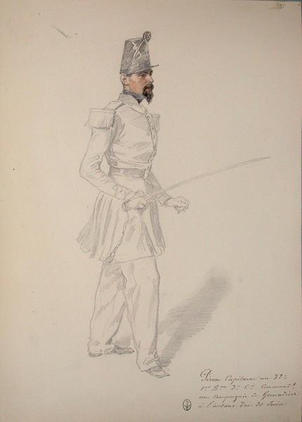 Piron, capitaine au 32e, 1er bataillon, 3e compagnie, commandant une compagnie de grenadiers à l'assaut du 30 juin ; Siège de Rome de 1849 (en 3 tomes)