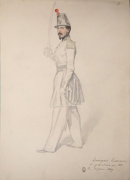 Tongas, lieutenant de grenadiers au 32e le 30 juin 1849 ; Siège de Rome de 1849 (en 3 tomes)_0