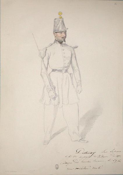 Destenay, sous lieutenant à la 1ère compagnie de voltigeurs du 32e. Attaque des tranchées romaines le 29 juin. Un caban roulé. ; Siège de Rome de 1849 (en 3 tomes)