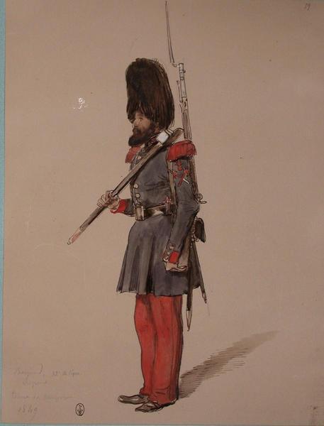 Bemeud, 32e de ligne, sapeur, tenue de campagne ; Siège de Rome de 1849 (en 3 tomes)