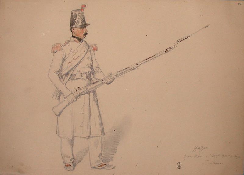 Gazet, grenadier, 1er bataillon, 32e de ligne, 2e assaut ; Siège de Rome de 1849 (en 3 tomes)