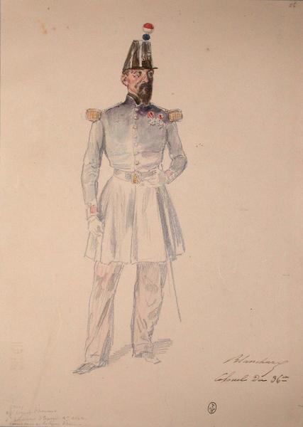 Blanchard, colonel du 36e, croix officier de la Légion d'honneur de Ferdinand d'Espagne, 2e classe, commandeur de la Légion d'honneur ; Siège de Rome de 1849 (en 3 tomes)_0