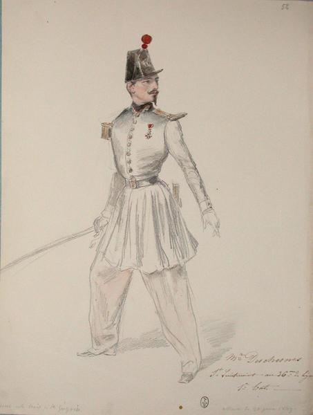 Monsieur Deschesnes, sous lieutenant au 36e de ligne, 1er bataillon, assaut du 30 juin 1849, décoré de la Croix de Saint-Grégoire ; Siège de Rome de 1849 (en 3 tomes)_0
