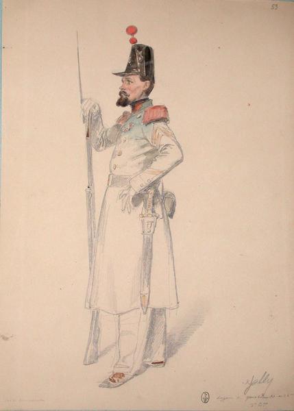 Gally, sergent de grenadiers au 36e de ligne, 3e bataillon, sur le campement ; Siège de Rome de 1849 (en 3 tomes)