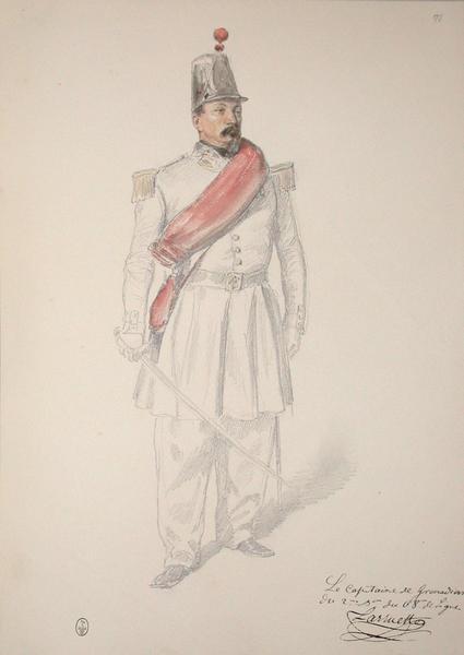 Laruette, le capitaine des grenadiers du 2e bataillon du 68e de ligne ; Siège de Rome de 1849 (en 3 tomes)