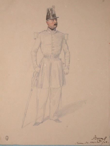 Ballay, capitaine, Rome 30, entre le batallion 7 et 8 ; Siège de Rome de 1849 (en 3 tomes)_0