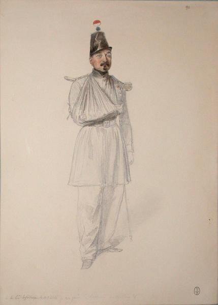 Le commandant Lefebure du 53e de ligne, blessé le 30 juin à l'assaut du bastion 8 ; Siège de Rome de 1849 (en 3 tomes)