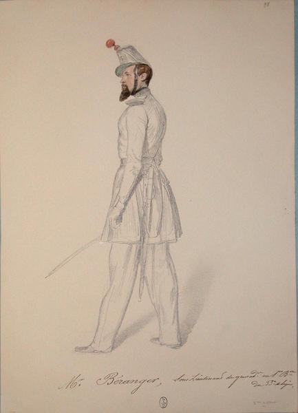 Mr. Beranger, sous-lieutenant des grenadiers au 1er bataillon, du 53e de ligne, 2e assaut ; Siège de Rome de 1849 (en 3 tomes)