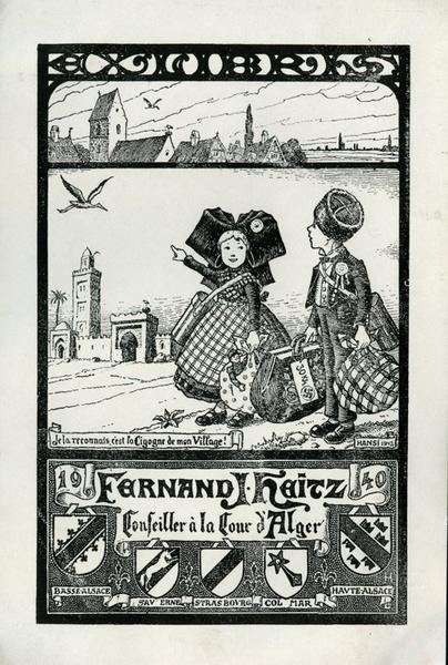 HANSI (dit), WALTZ Jean-Jacques (dessinateur, auteur du modèle, graveur) : EX LIBRIS FERNAND HEITZ (titre inscrit)