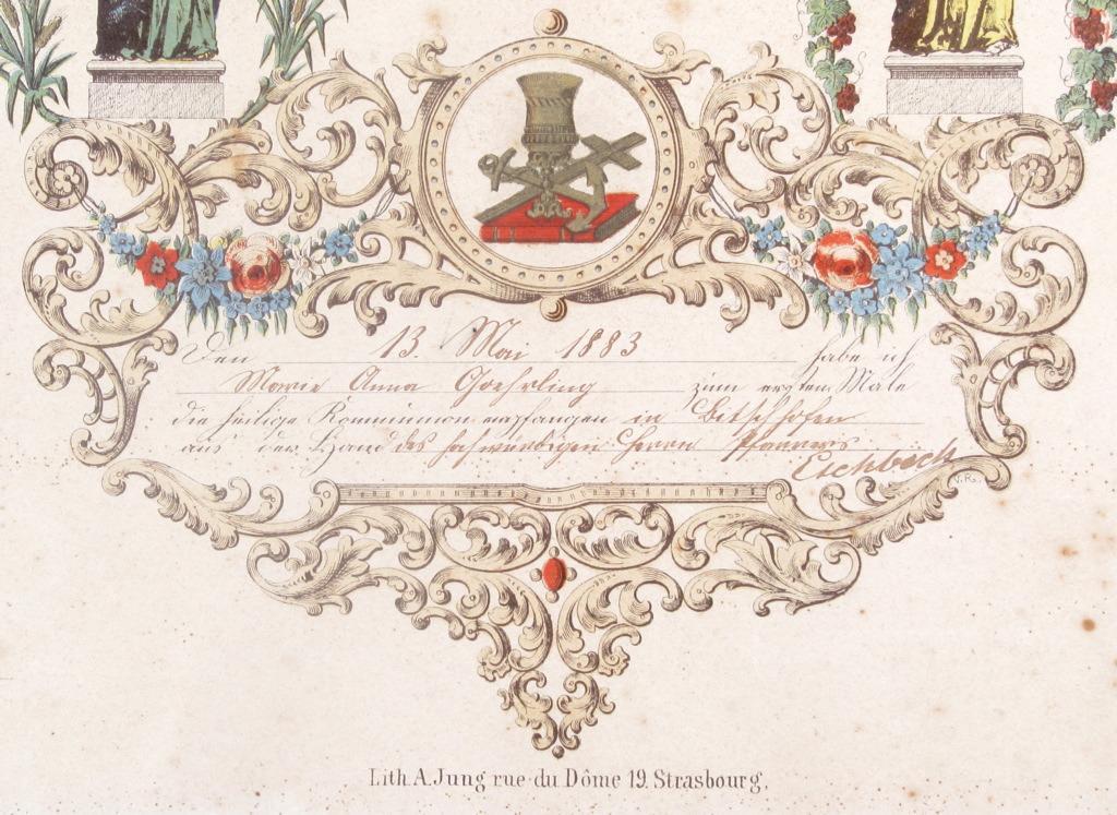 JUNG A (imprimeur, éditeur) : ANDENKEN/ der esten Hl. Kommunion. (titre inscrit)