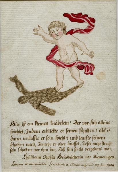 GRIESBACHER Johan Georg (dessinateur, éditeur), GRIESBACHER Christiana Sophia (dessinateur, calligraphe) : image pieuse