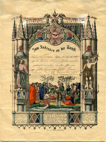 WENTZEL Frédéric (dit), WENTZEL Jean Frédéric (lithographe, éditeur) : Zum Andenken an die Taufe (titre inscrit)