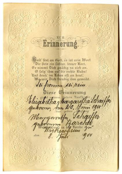 lettre de baptême, enveloppe : ZUR Erinnerung (titre inscrit)