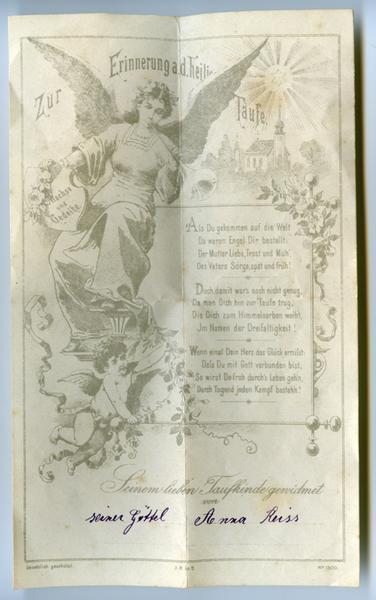 lettre de baptême, enveloppe : Zur Erinnerung a. d. heilige Taufe (titre inscrit)