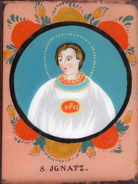 peinture sous verre : S. JGNATZ (titre inscrit)
