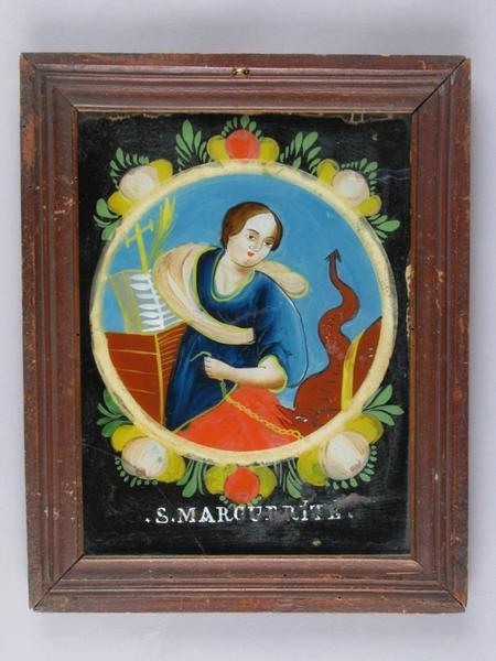 peinture sous verre : S. MARGUERITE (titre inscrit)