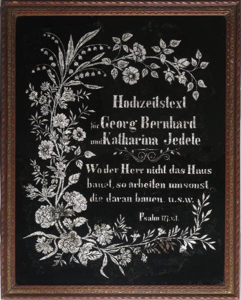 peinture sous verre : Hochzeitstext (titre inscrit)