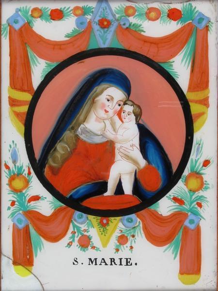 peinture sous verre : S. MARIE. (titre inscrit)