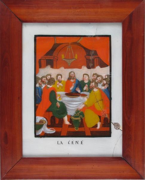 peinture sous verre : LA CENE (titre inscrit)